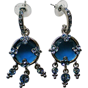 Ice Blue Pierced Dangle Earrings