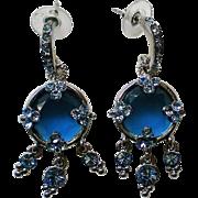 Ice Blue Pierced Dangle Earrings
