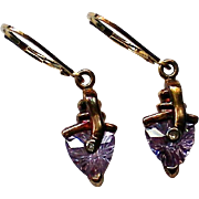 Petite Amethyst & Diamond French Wire Sterling Dangle Earrings