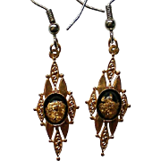 Colorado Gold Flecks Dangle Pierced Earrings