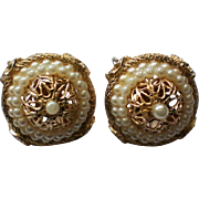 Signed  Coro Faux Pearl Filigree Clip Earrings