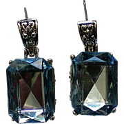 Ice Blue Foil Backed Rhinestone Pierced Earrings