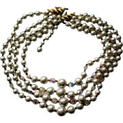 Four Strand Aurora Borealis Bead & Faux Pearl Necklace