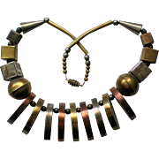 Chunky Mixed Metal Geometric African Necklace