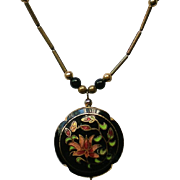 Black Floral Cloisonné Puffed Pendant Necklace