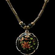 Black Floral Cloisonné Puffed Pendant Necklace