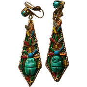 Egyptian Revival Scarab Dangle Earrings