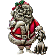 Santa with Cat and Dog Pin by JJ