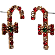 Candy Cane Pierced Earrings for Christmas Holiday