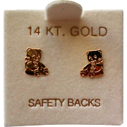 Petite Teddy Bear 14K Gold Pierced Earrings