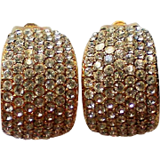 Sterling Silver Vermeil Pave Rhinestone Clip Earrings