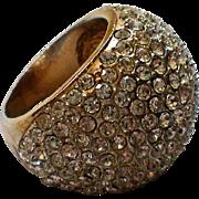 HUGE Pave Crystal Domed Ring, Size 7