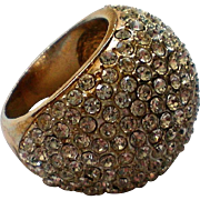 HUGE Pave Crystal Domed Ring, Size 7