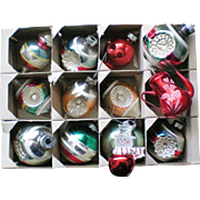 Mixed Box of Shiny Brite Christmas Tree Indent Ornaments