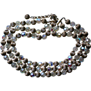 Sparkling Faceted Three Strand Aurora Borealis and Gold tone Bead Necklace