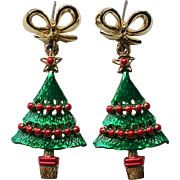 Christmas Tree Pierced Dangle Earrings for Holidays