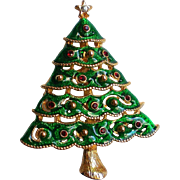 Enameled Green Christmas Tree for the Holidays