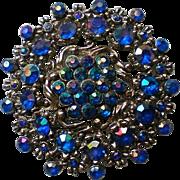 Glittering AB Blue Rhinestone Brooch