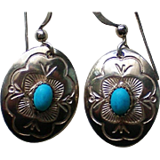 Signed BB Sterling Silver Turquoise Pierced Dangle Earrings