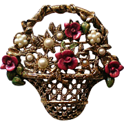 Basket of Flowers Pin with Roses & Faux Pearls