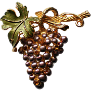 Grape Cluster Pin with Rhinestone Accents