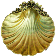 24KT Gold Plated Matson Metal Rose Sea Shell Soap Trinket Dish