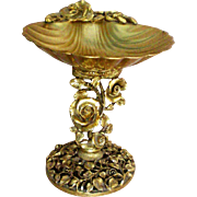24KT Gold Plated Matson Metal Rose Sea Shell Soap Trinket Pedestal Dish
