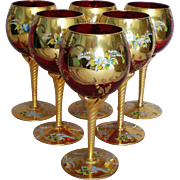 Bohemian Czech Ruby Red Hand Painted Gilt Wine Stem Glasses