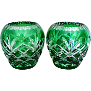Two Green Overlay Cut to Clear Votive Candle Holders
