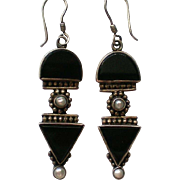 Black Onyx Dangle Pierced Earrings