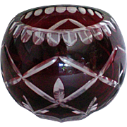 Ruby Cut to Clear Rose Bowl or Candle Holder