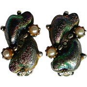 Lava Glass Dragon's Egg Clip Earrings