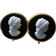 AMCO Molded Glass Cameo Screw Back Earrings with Gold Frame