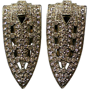 Pair of Art Deco Fur or Dress Clips with Rhinestones