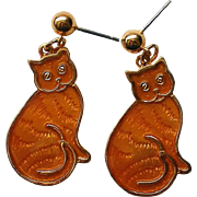 Orange Tabby Cat Pierced Dangle Earrings