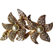 Gold tone Flower Brooch with Pave Rhinestones and Faux Pearls