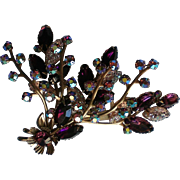 Fabulous Lavender Marquis AB and Lava Glass Stone Brooch
