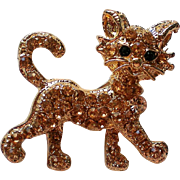 Sassy Cat Kitten Pin with Amber Pave' Rhinestones