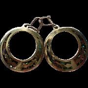 Mexican Silver Mother of Pearl Dangle Hoop Pierced Earrings