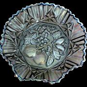 Federal Glass Pioneer Iridescent Smoke 10 inch Ruffled Bowl