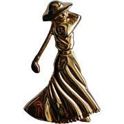Art Deco Figural Golfing Lady Pin by Fort