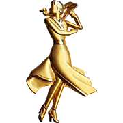 Lady in Dress Figural Pin by Jonette Jewelry