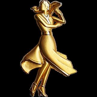 Lady in Dress Figural Pin by Jonette Jewelry