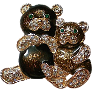 Cute Teddy Bears Pin with Sparkling Rhinestones by Roman