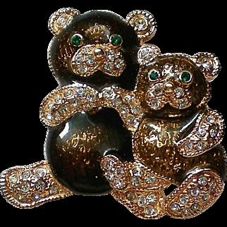Cute Teddy Bears Pin with Sparkling Rhinestones by Roman