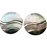 Mother of Pearl Disc Clip Earrings