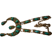 Egyptian Revival Faience Scarab Beetle Necklace
