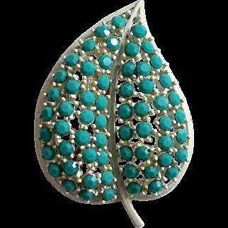 Signed Lisner Turquoise Blue Rhinestone White Heart Brooch