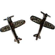 Silver tone Airplane Pierced Earrings