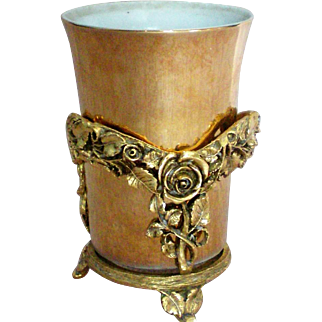 Matson Dusty Rose Ormolu Glass or Cup Holder with Gold Porcelain Cup
